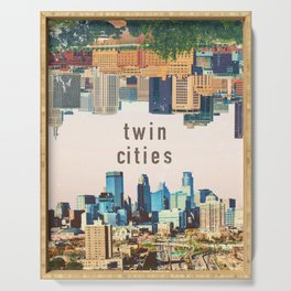 Twin Cities | Minneapolis and Saint Paul Minnesota Skylines | City Collage Serving Tray