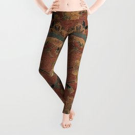 Flowery Boho Rug IV // 17th Century Distressed Colorful Red Navy Blue Burlap Tan Ornate Accent Patte Leggings