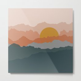 Minimal abstract sunset mountains Metal Print