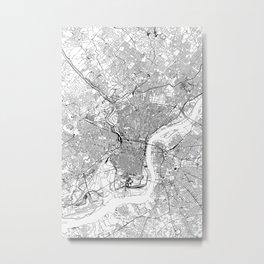 Philadelphia White Map Metal Print