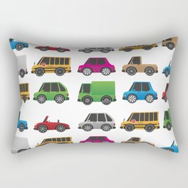 Cute Toy Cars, Trucks and School Buses Pattern Rectangular Pillow