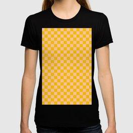 Deep Peach Orange and Amber Orange Checkerboard T-Shirt