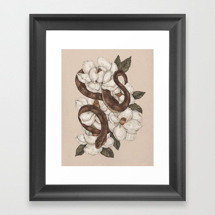 Snake and Magnolias Gerahmter Kunstdruck
