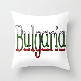 Bulgaria Font #1 with Bulgarian Flag Throw Pillow