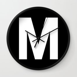 Letter M (White & Black) Wall Clock