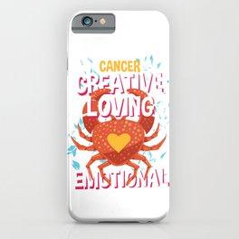 Cancer Zodiac Horoscope Crab Spirit Animal iPhone Case