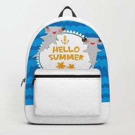 Hello Summer. Kawaii hammerhead shark Backpack