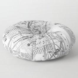 Vintage Map of Milwaukee Wisconsin (1878) BW Floor Pillow