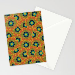 Morelia Flowers Multi Floral Pattern in Mid Mod Olive, Navy, Teal, Mustard, and Orange Stationery Cards