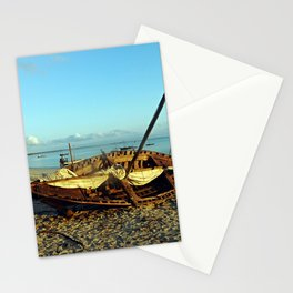 Beached Wooden Fishing Boat Tropical Beach Africa Stationery Cards