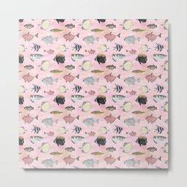 Fish Pattern - Coral Pink Waters Theme Metal Print