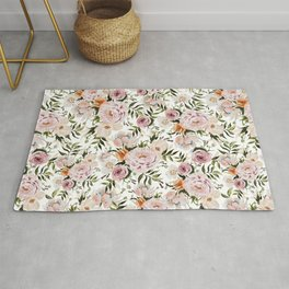 Loose Peonies & Poppies Floral Bouquet Rug