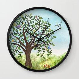 Little Song Birds in a Lovely Tree Wall Clock