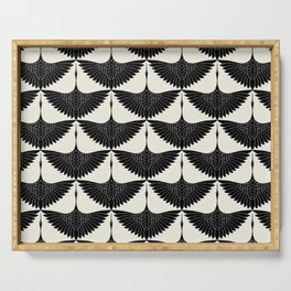 CRANE DESIGN - pattern - Black and White Serving Tray