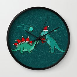 Cute Christmas Dinosaurs with Gift, Santa's Hats and Falling Stars, Teal Green Colors Wall Clock