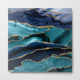 Ocean Blue Mermaid Marble Metal Print