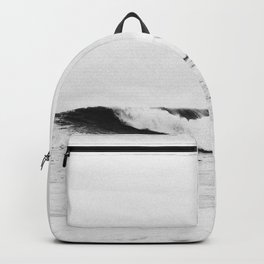 Minimalist Black and White Ocean Wave Photograph Backpack