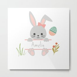 Cute little girl easter bunny with Amelia name tag Metal Print