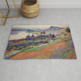 """Gorgeous French Countryside Landscape """"La Senna"""" by Maximilien Luce, 1890 Rug"""