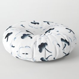 Blooms - Black and Blue Floor Pillow