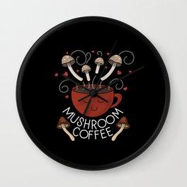 Mushroom Coffee (Dark) Wall Clock