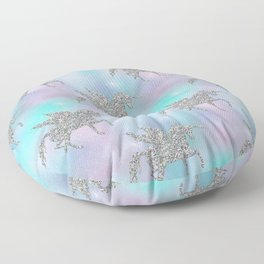 Silver Glitter Unicorns Floor Pillow