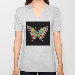 Jeweled Butterfly Unisex V-Neck