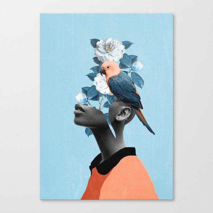 Girl with parrot Leinwanddruck
