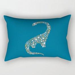 Foral Brontosaurus in Coral + Blue Rectangular Pillow