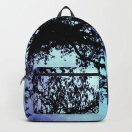 Black Trees Periwinkle Aqua Space Backpack