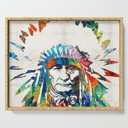 Native American Art - Chief - By Sharon Cummings Serving Tray