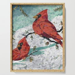 Cardinals In Winter Serving Tray