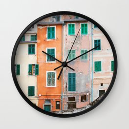 Cinque Terre Houses - Italy Travel Photography Wall Clock