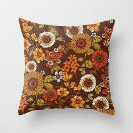 70s retro ditzy flowers, boho, browns, orange, hippie Throw Pillow