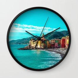 Liguria Italy Camogli beaches Hill Bay Houses Cities Beach Building Wall Clock