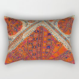 Orange Wildflower Sunshine III // 18th Century Colorful Rusty Red Bright Blue Metallic Happy Pattern Rectangular Pillow
