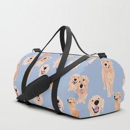 Golden Retrievers on Blue Duffle Bag