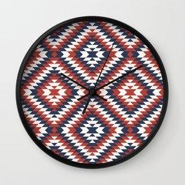 Coastal large Navajo Aztec diamonds diagonal kilim marine blue, red pattern Wall Clock
