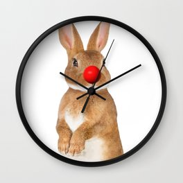 Bunny with red Clown Nose Wall Clock