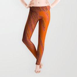 flow of loops, jewels on orange Leggings