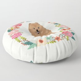 pomeranian floral wreath dog breed pet portrait pure breed dog lovers Floor Pillow