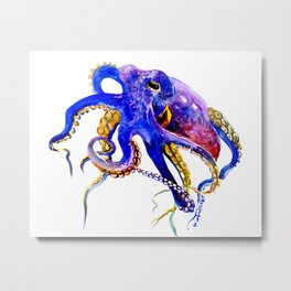 Octopus, Blue, Gold,Purple Metal Print