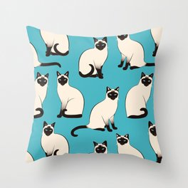 Siamese Cats sparse on turquoise Throw Pillow
