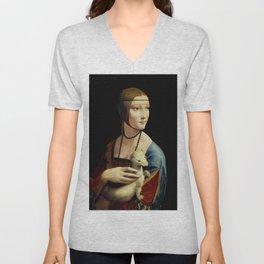 """Leonardo Da Vinci """"Portrait of Cecilia Gallerani (Lady with the Ermine)"""" Unisex V-Neck"""