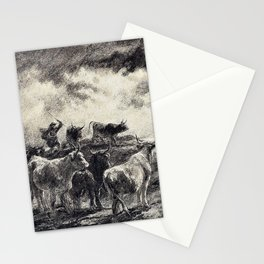 Rosa Bonheur - A Cowherd Driving Cattle - Digital Remastered Edition Stationery Cards