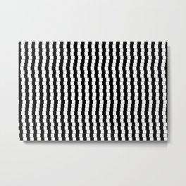 Offset Black and White Lines, Hypnotic Block Pattern Illustration Metal Print