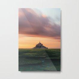 Sunset at Mont Saint Michel Metal Print