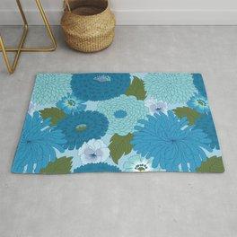 Retro Blue Floral Pattern Rug