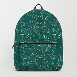 Green faded stars on a blue background . Backpack