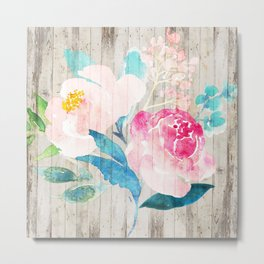 Custom Boho Watercolor Wood Pattern Metal Print